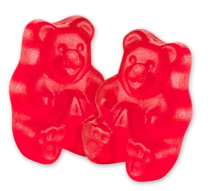 Albanese Wild Cherry Gummi Bears gummy candy in red