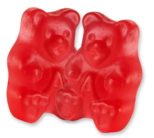 Albanese Rockin' Red Raspberry Gummi Bears gummy candy in red