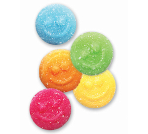 Albanese Gummi Sour Poppers are sour gummy candy in blue green yellow pink and orange