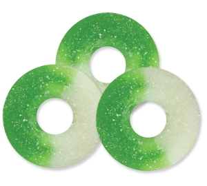 Albanese Granny Smith Green Apple Gummi Rings are sour apple smith gummy candy in green and white