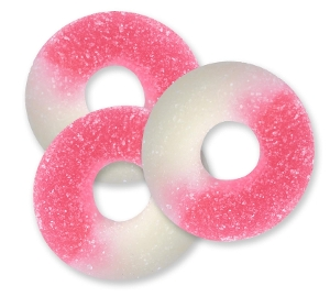 Albanese Ripe Watermelon Gummi Rings are fruit flavored gummy candy in pink and white