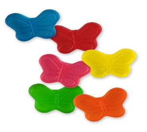 Sugar Free Albanese Mini Butterflies are sugarfree gummy candy in blue red yellow pink green orange