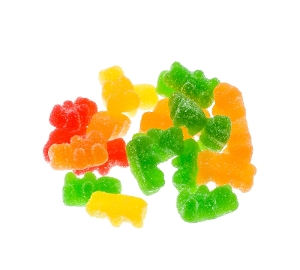 Kervan Sour Gummy Bears sugar coated candy in yellow red green and orange