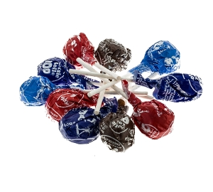 Tootsie Pops lollipop candy in brown light blue dark blue and red