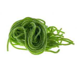 Gustaf's Sour Apple Laces licorice candy in green