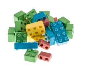 Candy Blox novelty toy candy in yellow blue green pink made with dextrose