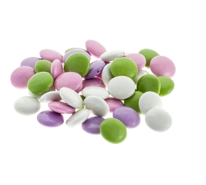 Pastel Chocolate Mint Lentils candy for baking and topping in milk chocolate in white purple and green