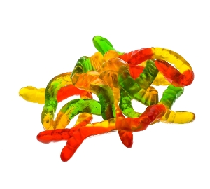 Kervan Worms are gummy candy in red yellow green and orange
