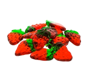 Haribo Gummi Strawberries are strawberry flavored gummy candy in red and green colors.