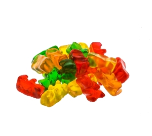Kervan Gummi Bears candy in yellow red green and orange