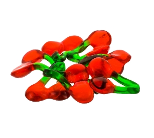 Haribo Gummi Happy Cherries are cherry fruit flavored gummy candy in red and green