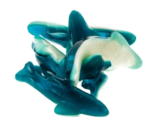 Gummy Killer Shark blue and white fruit gummy candy