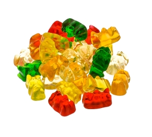 Haribo Gold-Bears Gummy, Gummi, candy, haribo, fruit, red, yellow, green, white, orange, bear, bears, gold bears, gold-bears