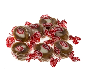 Caramel Creams bull eyes hard candy made with boiled carmel cream from goetze's