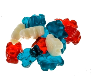 Albanese Freedom Gummi Bears patriotic gummy candy in red white and blue