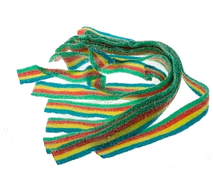 Sour Power Quattro Belts are sour candy coated in sugar from Dorval's colors include blue yellow red green