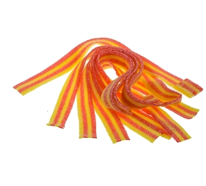Sour Power Strawberry Banana Candy Belts from dorval's in red and yellow