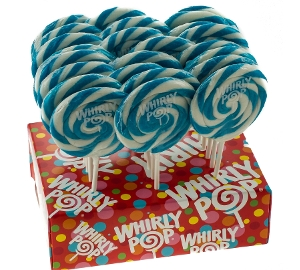Whirly Pop - Light Blue & White - Blueberry 3.0 inch 1.5 oz. of lollipops candy