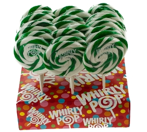 Whirly Pop - Green & White - Lime 3.0 inch 1.5 oz.  of lollipop candy