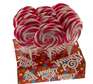 Whirly Pop - Hot Pink & White - Strawberry 3.0 inch 1.5 oz. of lollipop candy
