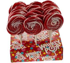 Whirly Pop - Red & White - Cherry 3.0 inch 1.5 oz. whirly pop, lollipop, 1.5 oz, red, white, candy